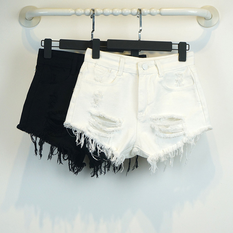 2018 Summer High Waist White Denim Shorts Holes Women New Fashion Style Slim Casual Femalehort Fringed Edge Shorts