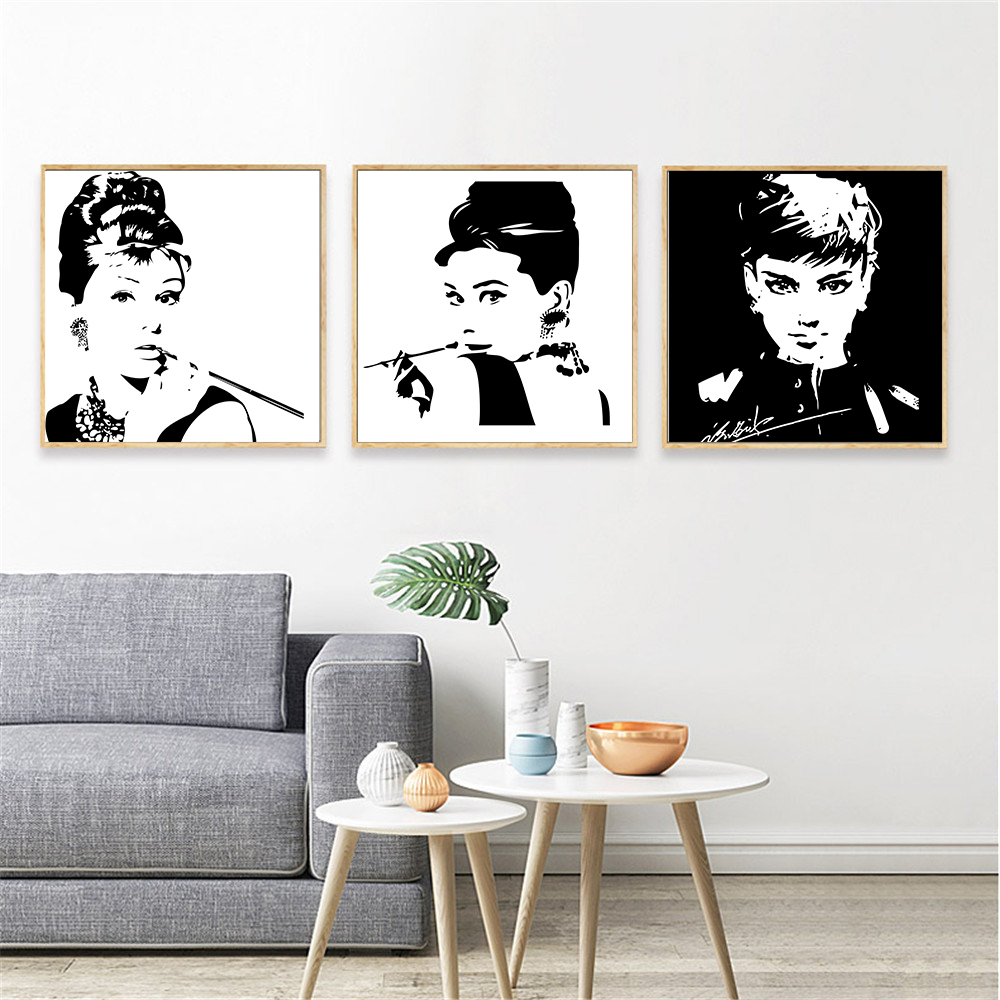 Black And White Paintings For Bedroom Bedroom Sets Black Modern Bedroom Black Bedroom Furniture Sets Pictures: Audrey Hepburn Canvas Painting Black White Wall Art