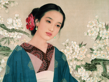 traditional Chinese painting scenery landscape portrait picture painting vintage poster Ancient beauties ladies flowers caped silk traditional bamboo fan with painting ancient chinese golden