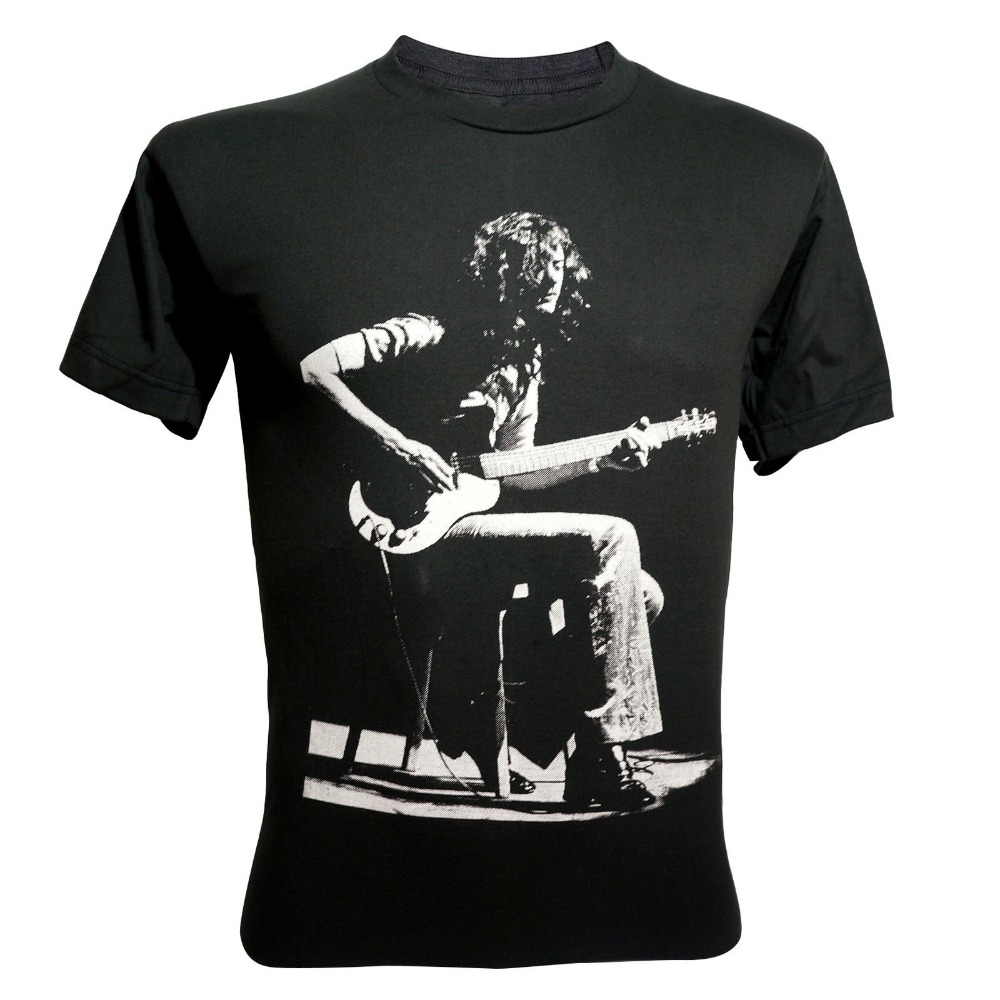 Shop Shirts O-Neck Short Sleeve Print Mens Jimmy Page Guitarist Led Zeppelin Rock T-Shirt V4 Dark Grey Tee