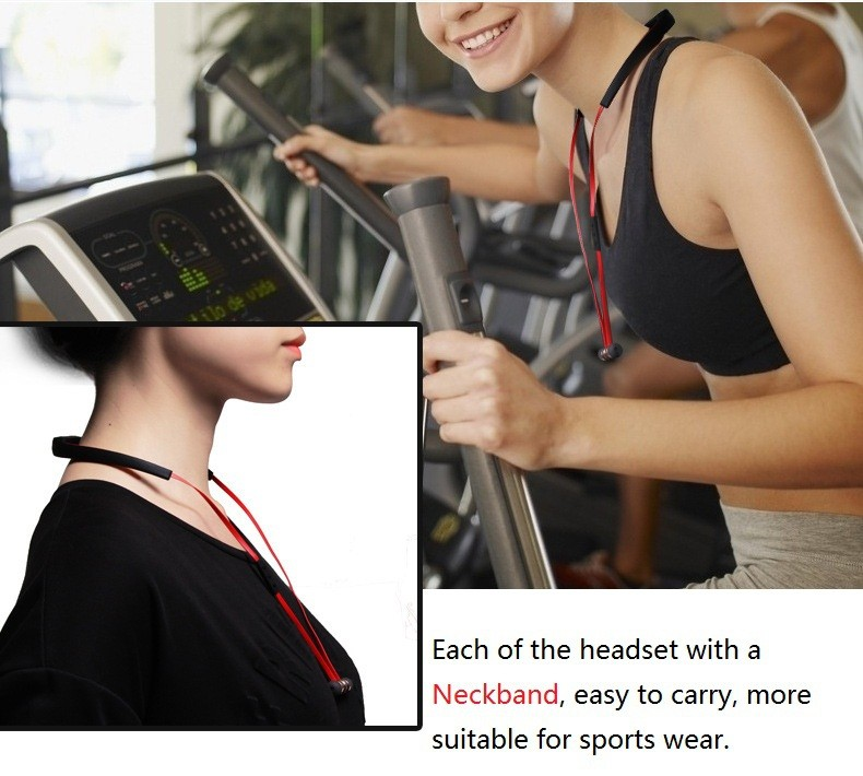 Metal Magnetic Bass Stereo Wireless Sport Bluetooth Headset With Mic Earphone For Samsung Huawei Lenovo Xiaomi iPhone Phone