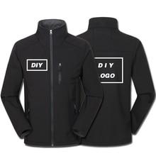 Custom Logo Printed Mens Autumn Warm Jackets Adults Waterproof Windproof Coat Zipper Softshell Degisn Outerwear Drop Shipping