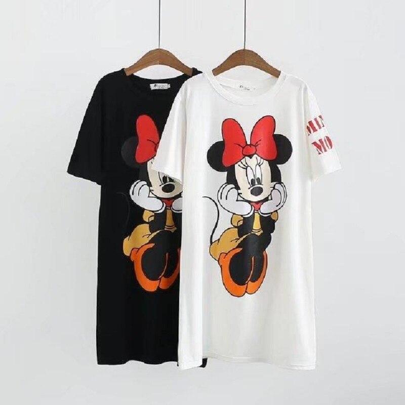 Maternity Clothings Dress Pregnant Women Dresses Cartoon Mouse Print Cotton Short Sleeve Clothes Black White Plus Size XL-4XL
