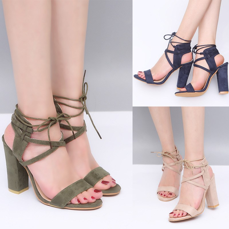 Summer High Heel Sandals Women Gladiator Ladies Thick Heel Ankle Strap Casual Open Toe Sandals Plus Size 35-43 BTF1024 plus size 34 43 new summer shoes woman open toe women ankle strap wedges sandals casual low heel sandals women sandals