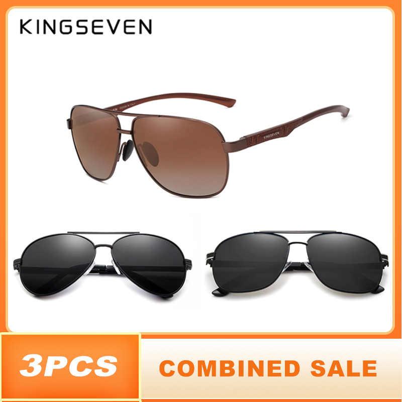 3 pçs venda combinada kingseven marca design óculos de sol polarizados lente espelho 100% proteção uv óculos de sol