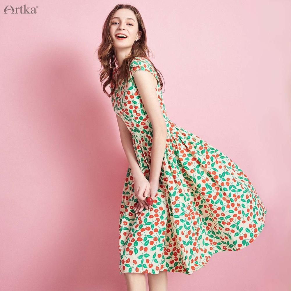 ARTKA 2019 Summer Women Short Sleeve Dress Printing Floral Fashion Pleated A line Long Dress Female