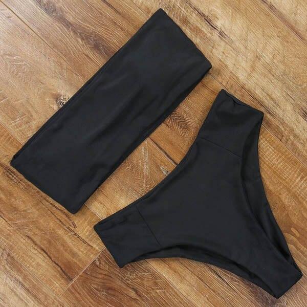 MOSHENGQI Sexy Bandeau Bikini 2019 Swimsuit High Waist Bathing Suit Black Bikini Set Female Swimwear Women Push Up Swimming Suit