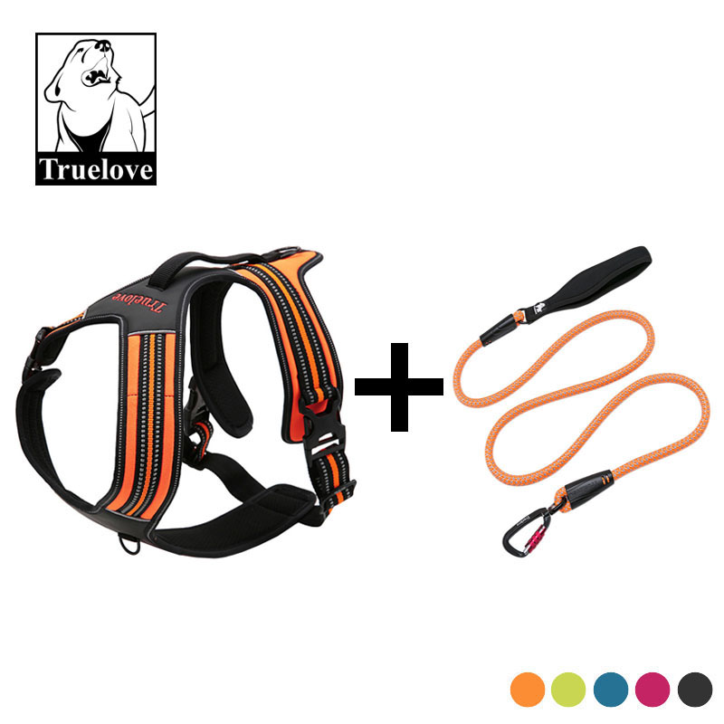 Truelove 3M Reflective Sport Nylon No Pull Dog Harness And Leash Set Padded Pitbull Vest Harness Leash For Dogs Pet Supplies