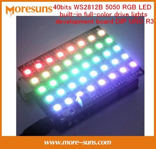 Fast Ship Livre 40 bits WS2812B 5050 RGB LED embutido luzes unidade full-color DIP placa de desenvolvimento UNO R3 Módulo eletrônico
