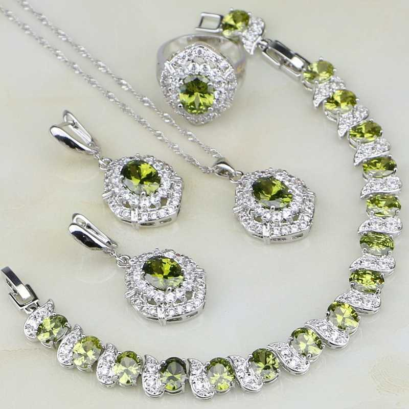 925 Silver Jewelry Sets For Women Anniversary Accessories Olive Green Cubic Zirconia Earring/Pendant/Necklace/Bracelet/Ring