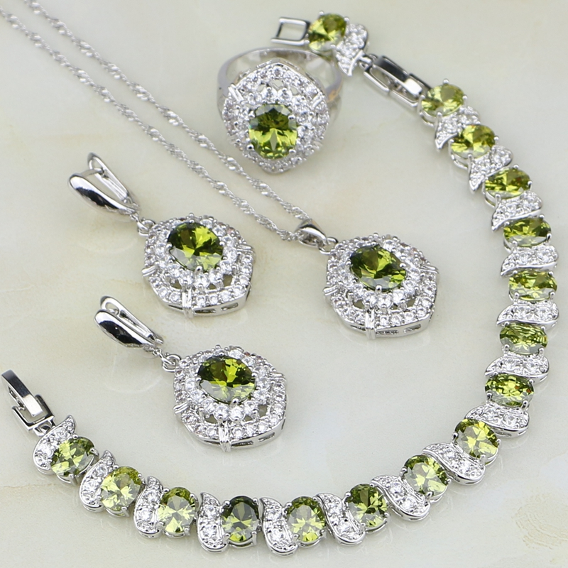 Olive Cubic Zirconia White Zircon 925 Sterling Silver Jewelry Sets For Women Wedding Earring Pendant Necklace