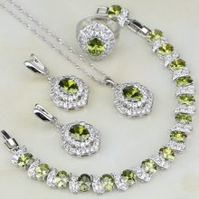 Olive Cubic Zirconia White Zircon 925 Sterling Silver Jewelry Sets For Women Wedding Earring/Pendant/Necklace/Bracelet/Ring