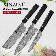 XINZUO  3PCS Set Damascus Steel Kitchen Knives 8.5,7,5 inch Japanese Style Chef Nakiri Utility Knife Cooking Tools Ebony Handle