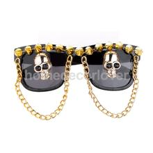 Halloween Sunglasses Glasses Fancy Dress Costume Party Skull Head Skeleton Plastic Link Chain Rivet Decoration