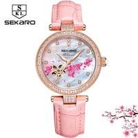 Sekaro Women Automatic Clock Flower Design Watch Women's Mechanical Wristwatch Top Brand Luxury Women Watches Relogio Feminino