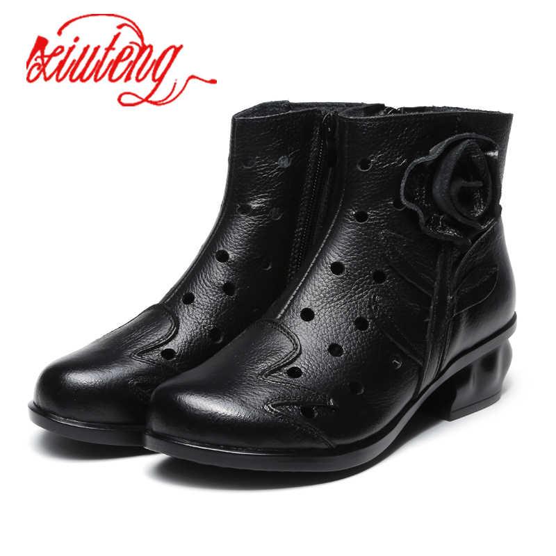Xiuteng Yeni Hakiki Deri Kadın Çizmeler Ilkbahar Sonbahar Ayakkabı Botas Feminina Kadın Ayak Bileği Moda Bayan Botları Botas Mujer