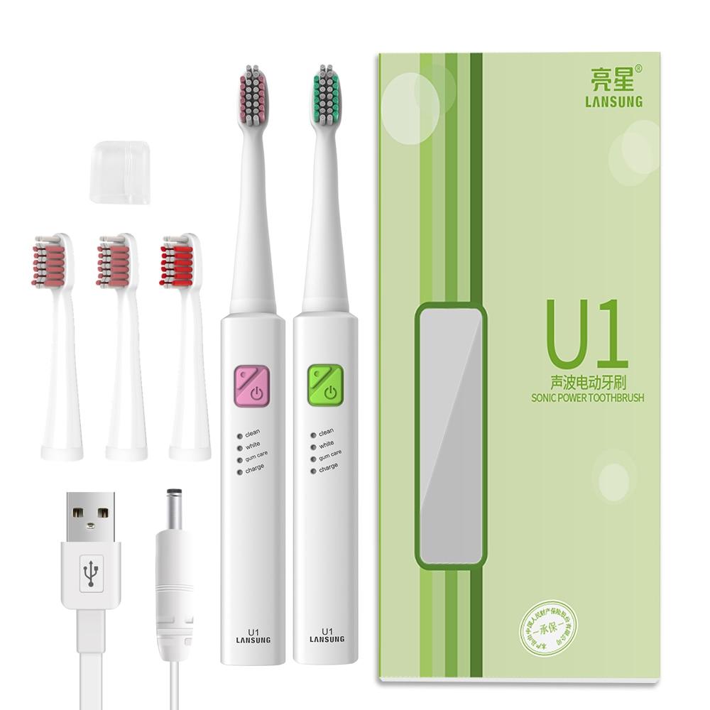 Lansung U1 Ultra sonic Elektrische Zahnbürste + 4 Ersatz Köpfe USB Aufladbare sonic Zahnbürste Timer Zahnbürste Oral Hygiene