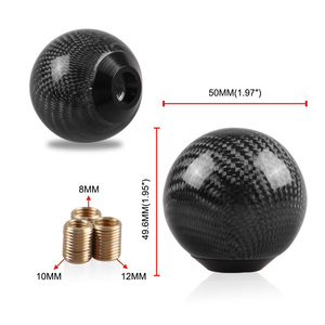 Image 4 - Carbon Fiber Gear Shift Lever Knob Manual Stick Shifter M10*1.5 with Adapter Black for Universal Car