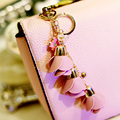 2015 New Gold Leather Rose Flower Keychain For Women Keyring Bag Charm For Keys porte cle llaveros mujer sleutelhanger Jewelry