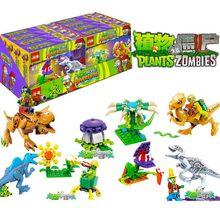 цена на Plants Vs Zombies Struck Game Building Blocks Set Compatible Legoingly Jurassic World Dinosaurs Gift Action Toys For Children