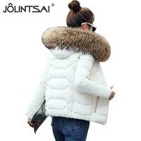 JOLINTSAI Fake Fur Collar Women Short Parka 2017 Winter Jacket Women Ladies Coat Clothing Padded Parkas