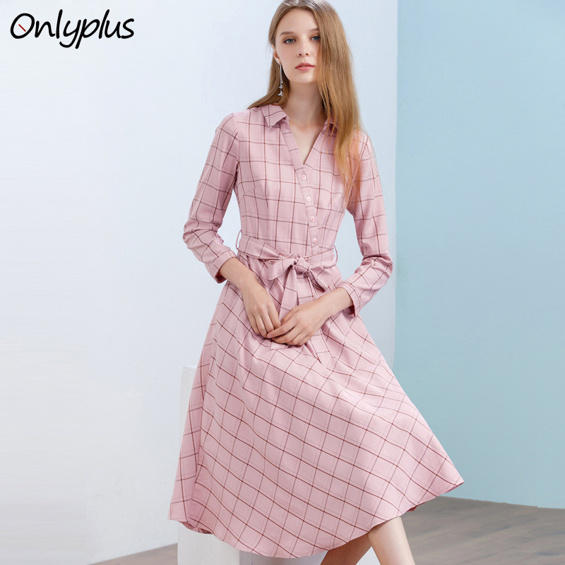 Onlyplus automne robe à carreaux pour femme mode élégante robes en coton genou longueur rose revers avec ceinture femme femmes robes