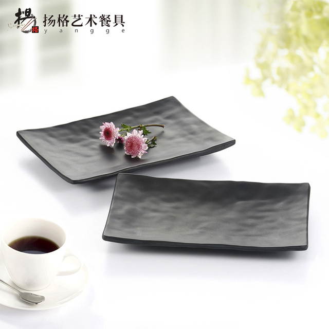 8INCH Fashion Black Rectangular Dinner Plates Outdoor Disposable Melamine Dinnerware Plastic Black Hotel Sushi Serving Plate  sc 1 st  AliExpress.com & 8INCH Fashion Black Rectangular Dinner Plates Outdoor Disposable ...