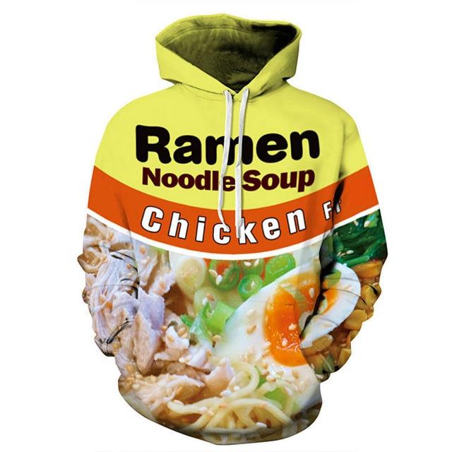 c50dde3466f8 Fashion Hoodies 3D Print Ramen Noodle Soup Chicken Food Unisex Graphic  Pullover Long Sleeve Crewneck Sweatshirts