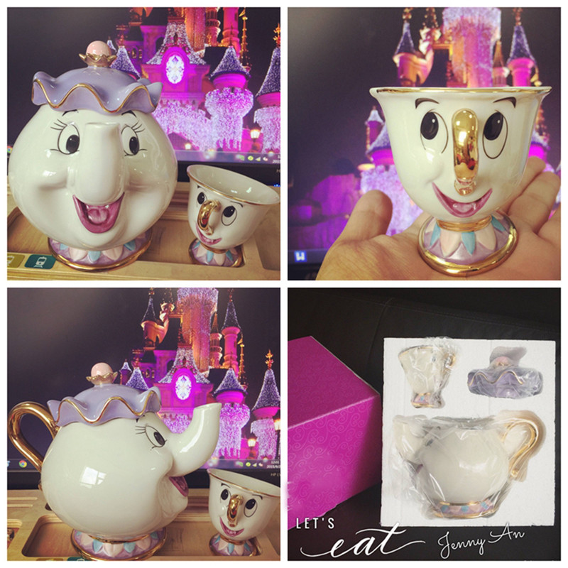 Cartoon-Beauty-And-The-Beast-Teapot-Mug-Mrs-Potts-Chip-Tea-Pot-Cup-Ceramics-One-Set (1)