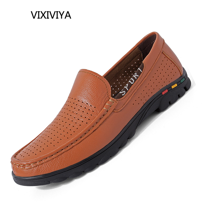 Fashion men's shoes genuine leather loafers man platform breathable shoe black and brown summer youth men casual shoes hot sale 2017 new chaussure homme mens shoes casual leather vulcanize hip hop white men platform summer hot sale breathable black shoes