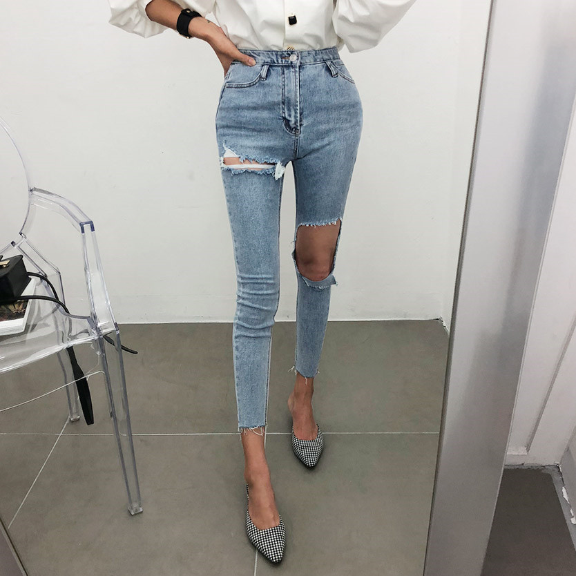Korean Version Of The New One-legged Big Hole Personality Slimming High Waist Jeans Feet Pants