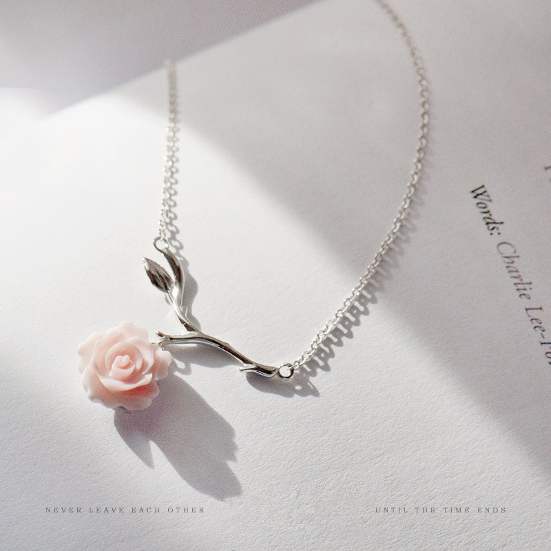 Sterling 925 Silver Original Design Shell Flower Necklaces Pendants Women Handmade Pink Rose Literature Fresh Clavicle Chain