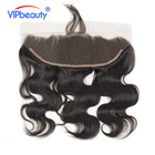 VIPbeauty Brazilian Body Wave Lace Frontal Closure Remy Hair 100% Human Hair 13x4 Ear To Ear PrePlucked Natural Hairline