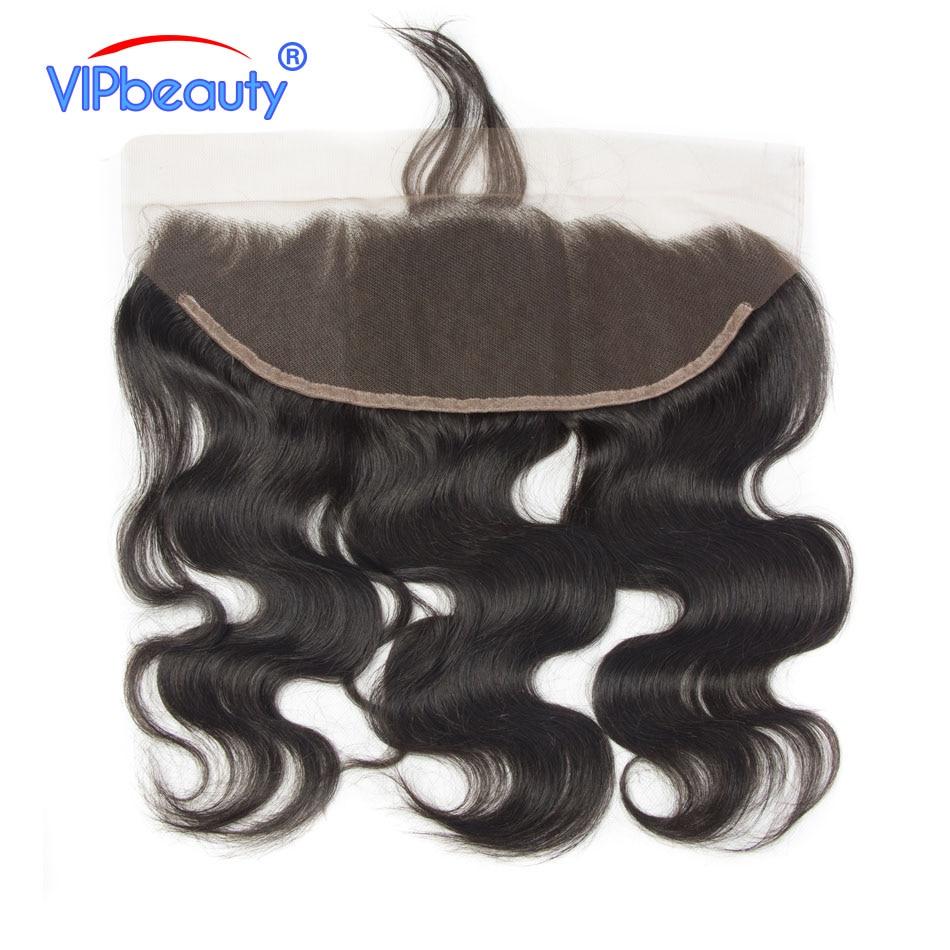 VIPbeauty ブラジル実体波レースフロント閉鎖 Remy 毛 100% 人毛 13 × 4 耳に耳ナチュラルヘアライン 10 20 インチ  グループ上の ヘアエクステンション & ウィッグ からの クロージャー の中 1