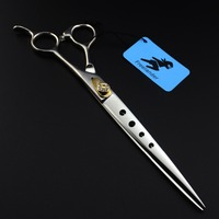 8inch Pet Hair Cutting Scissor Hole on Blade Sharp Edge Professional Pet Grooming Tool 440C Stainless Steel Haigh Quality