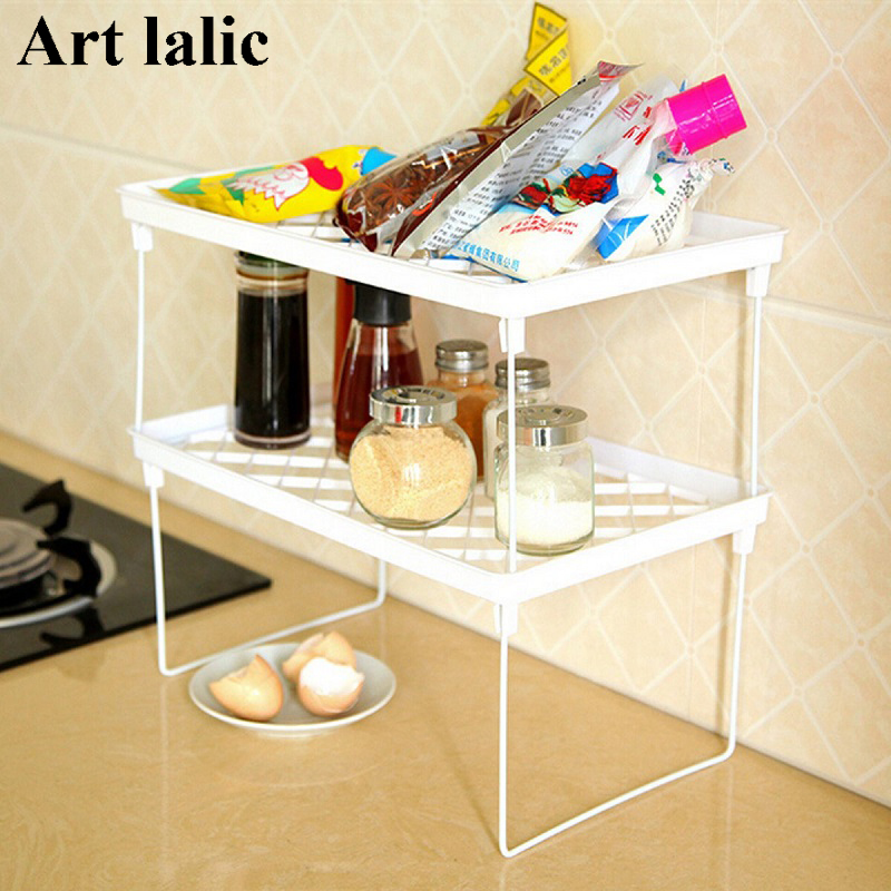 Multi Layer Shelf Snap Type Plastic Foldable Storage Racks Kitchen Shelving Holders Multi Use Organizer Organizador