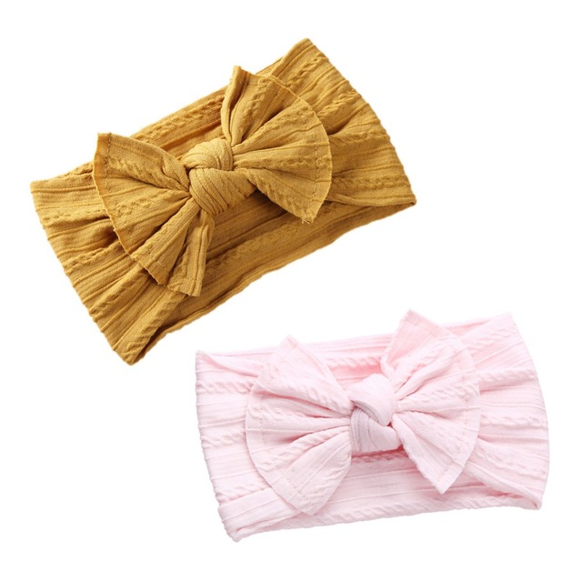 Wide Baby Nylon Newborn Headband Knotted Bow Hair Band Braid Bows Baby Hair Accessories for Infants 27 Colors JFNY099