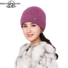 BINGYUANHAOXUAN Women Winter Hats rabbit wool knitting skullies Female Warn hat Fur Beanies Caps Adult Casual Skullies