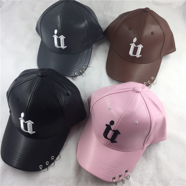 Succulent New arrival men women leather winter cap korean hip hop fashion punk ladies pink black baseball hat bones masculino