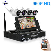 Hiseeu 7 Inch Displayer 4CH 960P Wireless CCTV System Wireless NVR IP Camera IR CUT Bullet