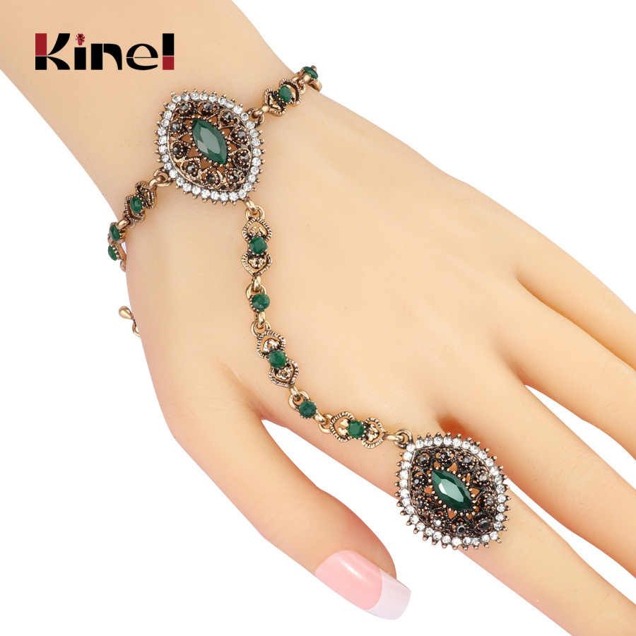 Kinel 2017 New Dubai Jewelry Sets Bracelet Link Ring For Women Antique Gold Bohemian Wedding Jewelry Party Christmas Gifts