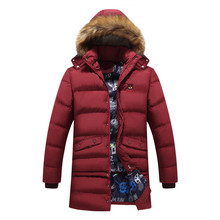 Europe 2016 new men thick cotton jacket fashion solid color long section loose fur collar padded warm