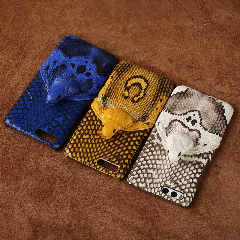 wangcangli brand phone case real snake head back cover phone shell For Xiaomi Redmi Note5A full manual custom processing in Half wrapped Cases from Cellphones Telecommunications