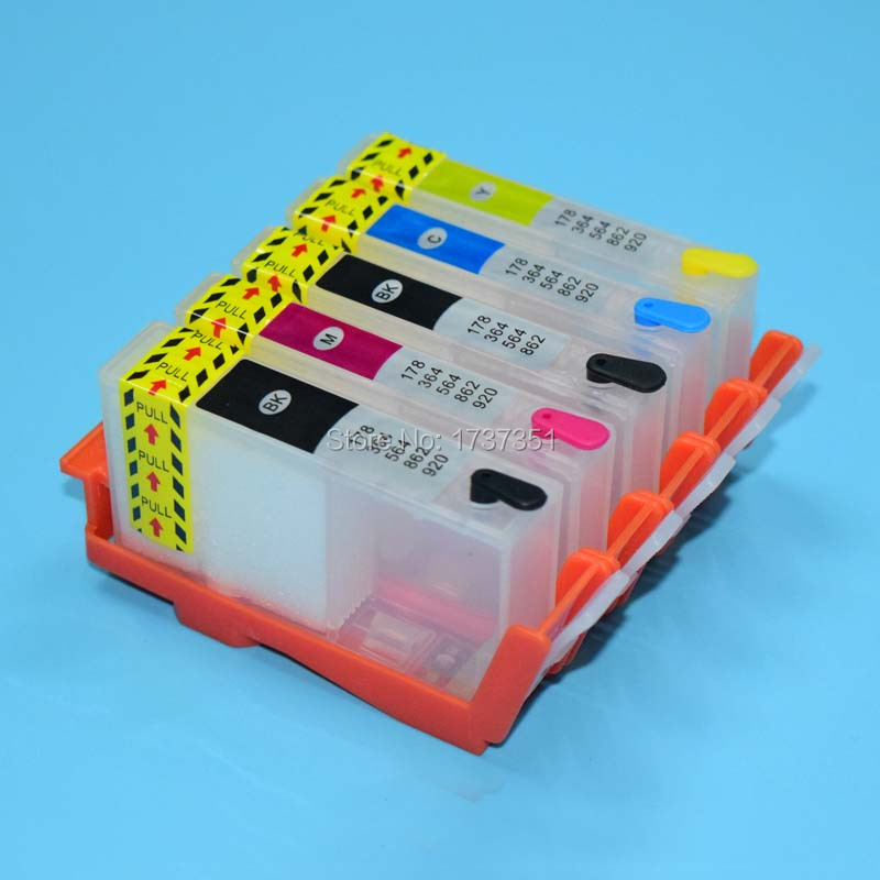 цена на With Auto Reset Chip For HP 564 refill ink cartridge for HP 7510 B8550 C5380 C6375 C6380 D5460 printer 5 color