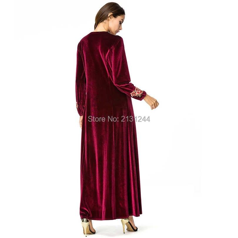 207a4040e1 Dubai Abaya Velvet Tassel Pearls Beading Draped Slim Muslim Hijabs Dress  Elegant O Neck Islamic Women Clothing Arab Tunic Robes