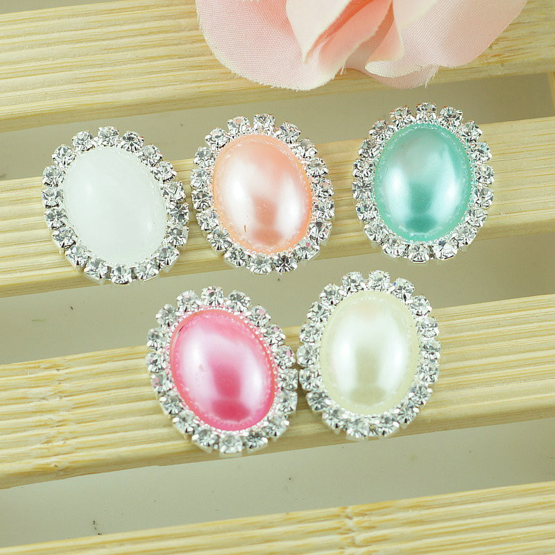 6 Crystal Pearl Photo Picture Frame Diamond Bowknot: 100pcs 26*20mm Oval Flatback Diamond Crystal Pearl Button