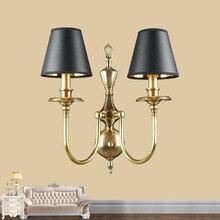 Классический европейский стиль медные бра ТВ фон лампа вилла лобби гостиная декоративные настенные спальня свет