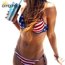 d9bb3c42b727a Oiyeefo American Flag Bikini Sexy Push-up Swimsuit Halter Bathing Suit  Women Large Size Swimwear Female Beach May Summer Plavky