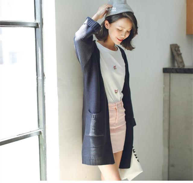 2016 Ocasional de La Muchacha Larga de Punto Cardigan Otoño Mujeres Coreanas Suelta Bolsillo Color Sólido Diseño Suéter Chaqueta de Color Beige Rosado