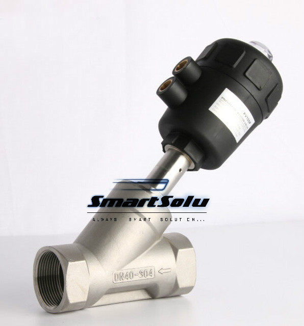 3/4 2/2 Way single acting angle seat valve normally closed pneumatic angle seat valve 50mm actuator 1 2 2 2 way single acting stainless steel angle seat valve normally closed pneumatic angle seat valve 40mm actuator